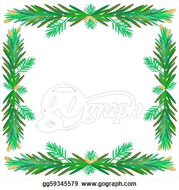 Vector Clipart   Illustration Of Pine Branches That Have Pine Cones In