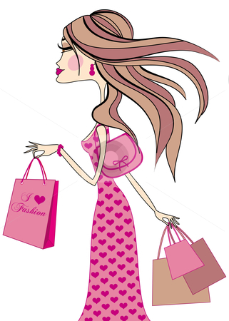 Clipart Girl Holding Shopping Illustrations Clipart Picturetitle