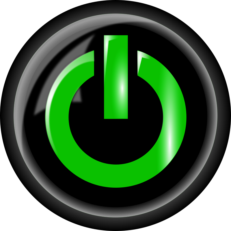 Power Button Black By Bnielsen   A Black Power Button With A Green