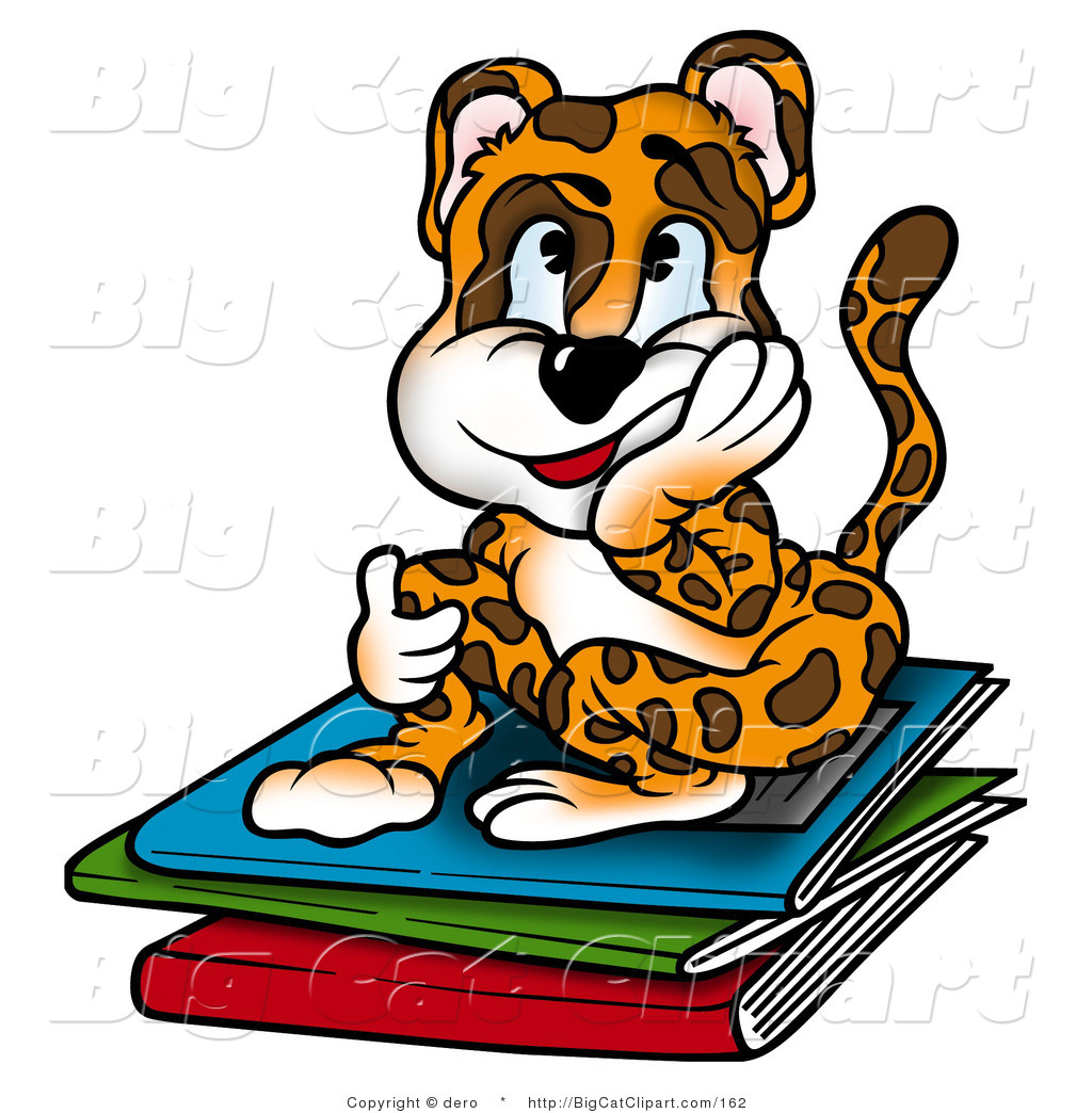 Big Cat Clipart Of A Bored Leopard Student Sitting On Books By Dero