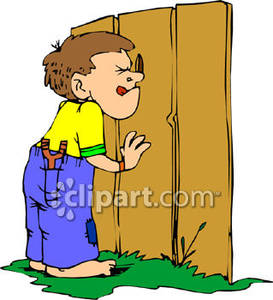 Boy Peeking Through A Hole In A Fence   Royalty Free Clipart Picture