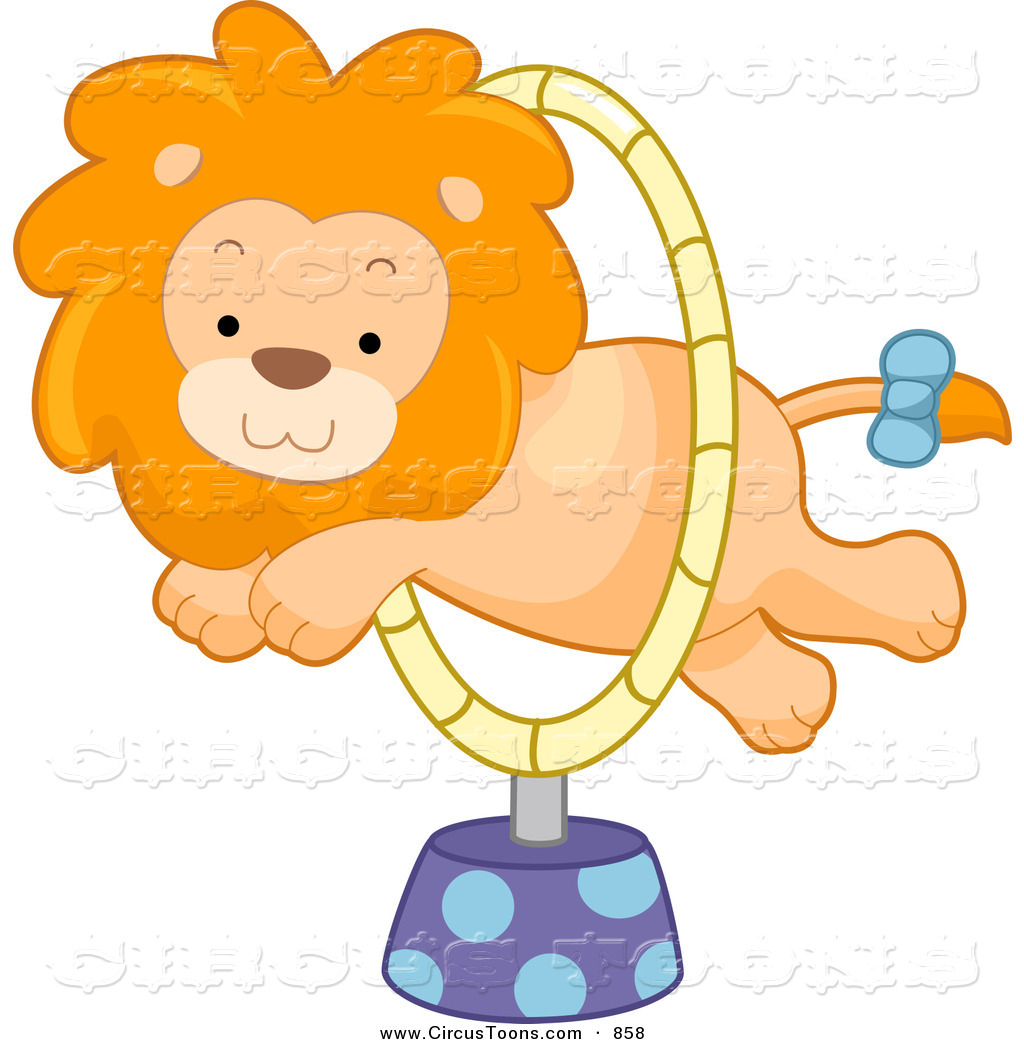 Circus Clipart Of A Cute Lion Leaping Through A Hoop By Bnp Design