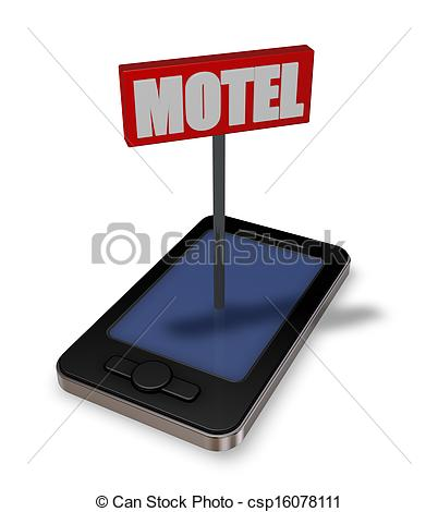 Clipart Of Motel   Smartphone With Motel Sign   3d Illustration