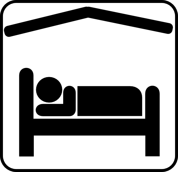 Hotel Motel Sleeping Accomodation Clip Art   Black White Clip Art At