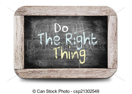 Stock Photo   Do The Right Thing Written On The Blackboard   Stock
