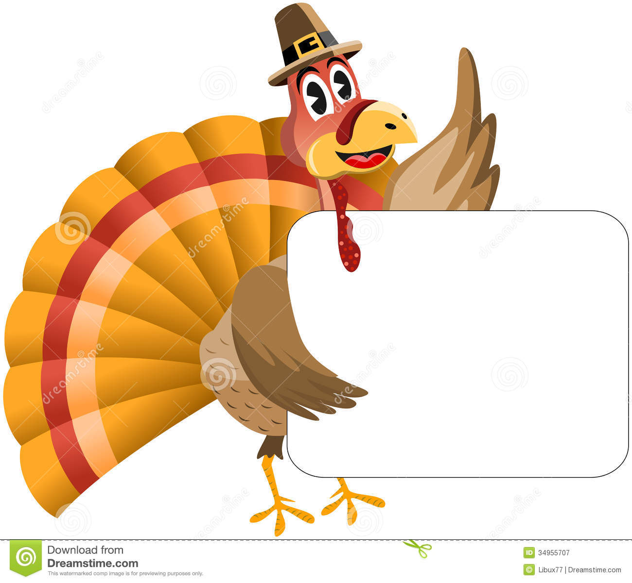 Thanksgiving Turkey Holding Banner Royalty Free Stock Photography