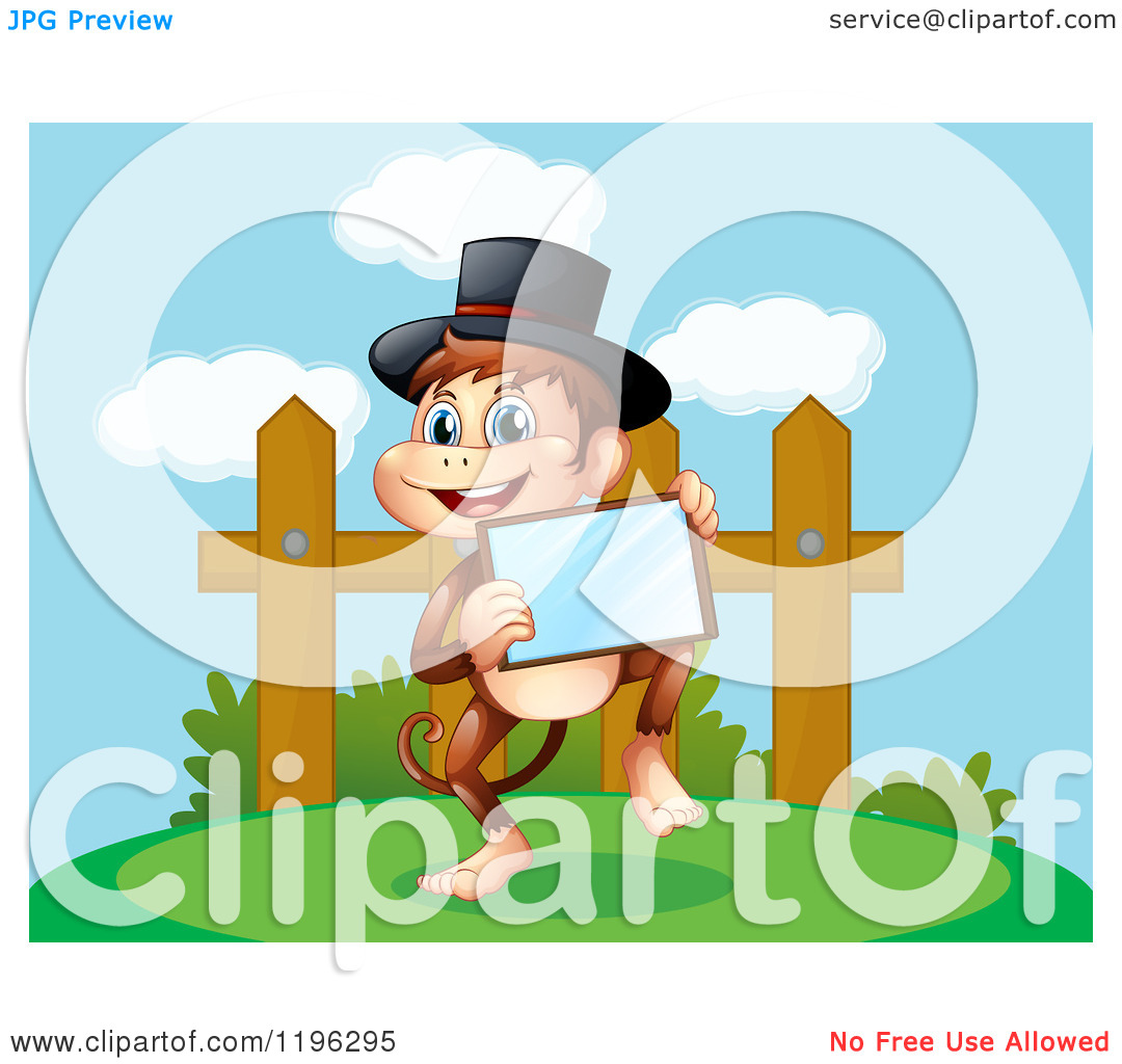 Top Hat And Holding A Tablet By A Fence   Royalty Free Vector Clipart