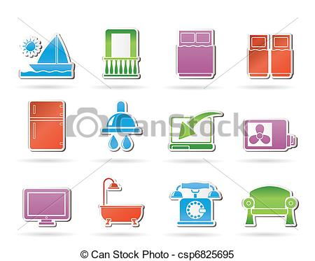 Vector   Hotel And Motel Room Facilities   Stock Illustration Royalty