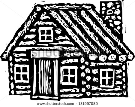 Black And White Vector Illustration Of Log Cabin   Stock Vector