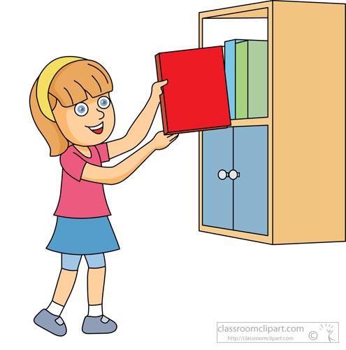 Book Clipart   Girl Putting Book On Shelf   Classroom Clipart