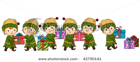 Christmas Elves Passing Gifts   Vector Clip Art Picture