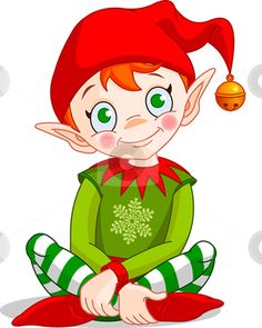 Elf Stock Vector Clipart Christmas Elf Sitting   Vector  By     More