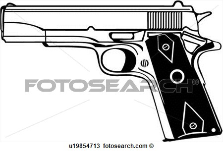 Gun 45 Automatic Pistol Weapon View Large Clip Art Graphic