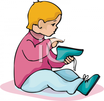 Little Child Putting On His Shoes   Royalty Free Clipart Picture