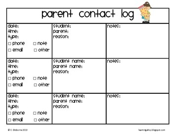 Parent Contact Log Primary  Updated With New Clipart  Best Of All