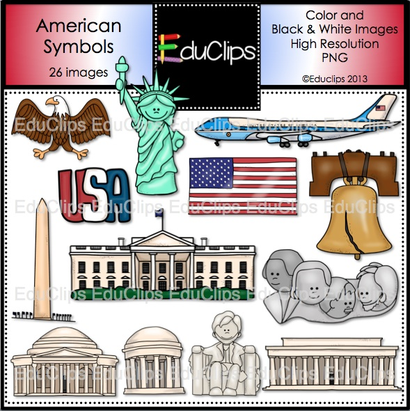 Symbols Clip Art Bundle  Color And B W    Welcome To Educlips Store