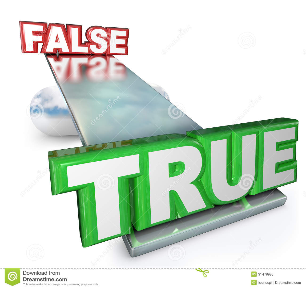 True Vs False Truth Against Lies Balance See Saw Stock Photos   Image