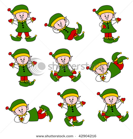 Vector Clipart Illustration Picture Of Cute Christmas Elf Set With