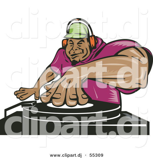 Vector Clipart Of A Hispanic Cartoon Male Dj Mixing Records While