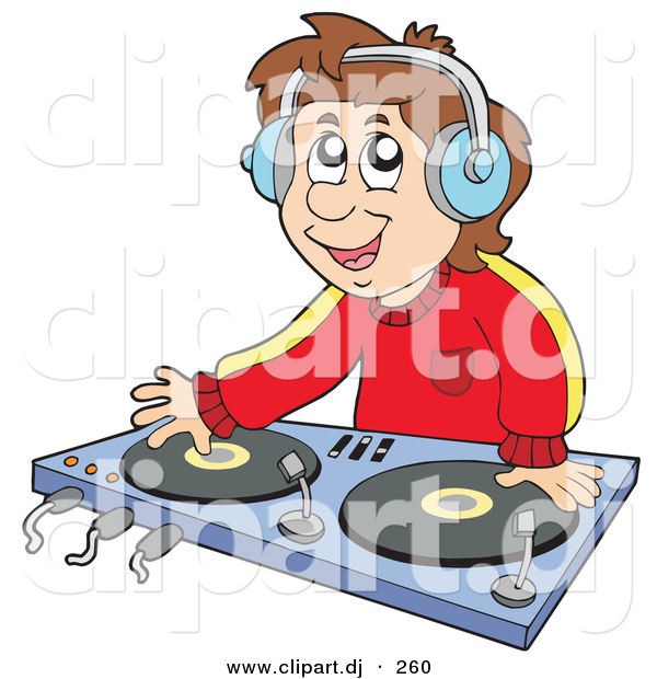 Vector Clipart Of A Male Cartoon Dj Wearing Headphones And Mixing