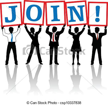 Vectors Of Business People Hold Up Join Signs   Business People Team