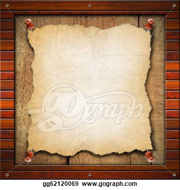 Blank And Vintage Paper In Old Wood Frame  Clipart Drawing Gg62120069