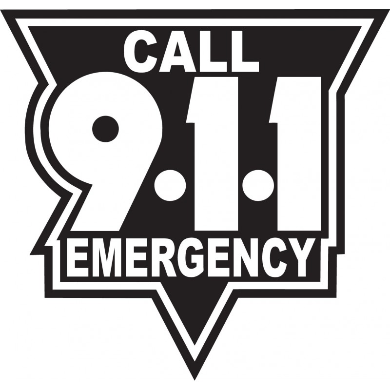Call 911 Decal   Standard Black