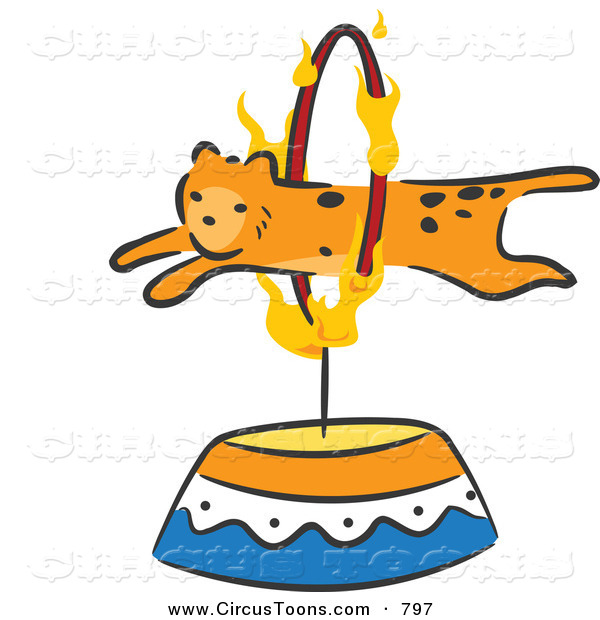Circus Clipart Of A Cheetah Leaping Through A Fiery Hoop By Bnp Design