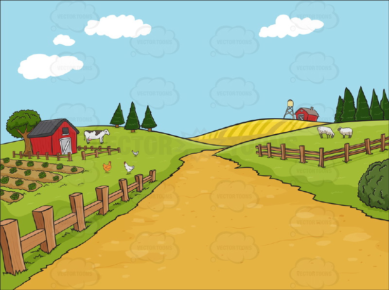 Country Farm Background   Vector Graphics   Vectortoons Com
