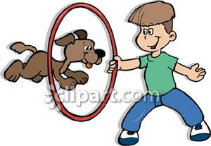 Dog Jumps Through A Hoop That A Boy Is Holding Royalty Free Clipart