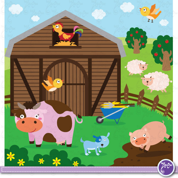 Farm Animals Clip Art Cute Animals Barnyard By Yenzarthaut On Etsy