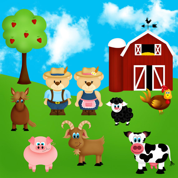 Farmyard Farm Animals Clip Art Set With Farmer Ted  Instant Download