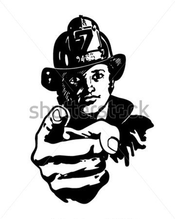 File Browse   Vintage   Pointing Fireman   Retro Clipart Illustration
