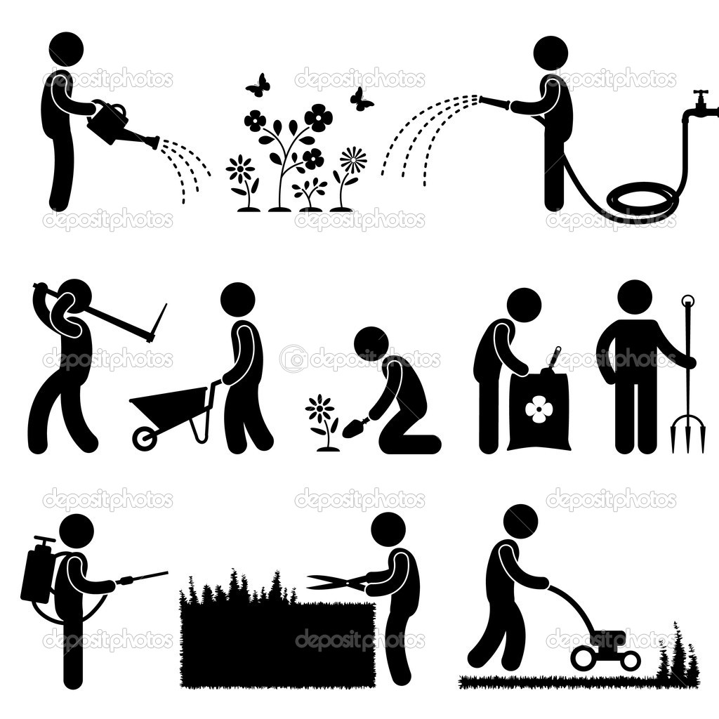 Gardening Work Plant Flower Grass Pictogram Icon Symbol   Stock