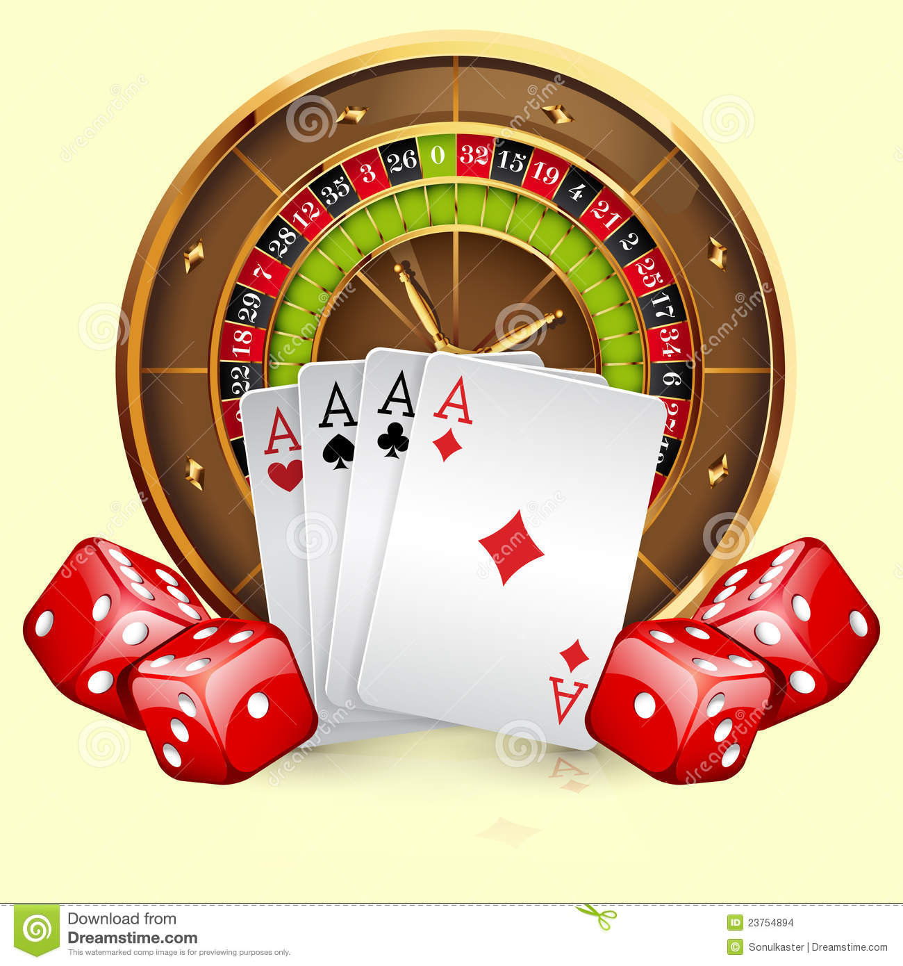 Illustration Of Casino Roulette Wheel With Cards And Dice  Isolated On
