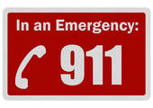Photo Realistic  Emergency 911  Sign Isolated On White   Royalty Free