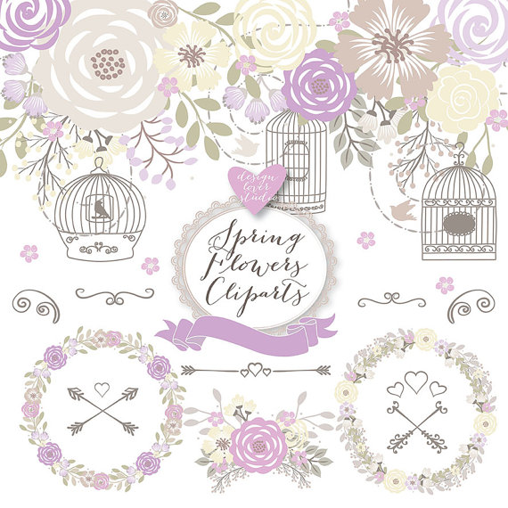 Premium Rustic Wedding Clipart Cage Shabby Chic Clipart Hand Drawn