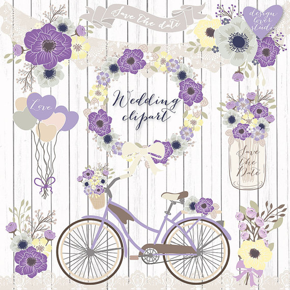 Premium Vector Rustic Wedding Clipart Bicycle Clipart Shabby Chic