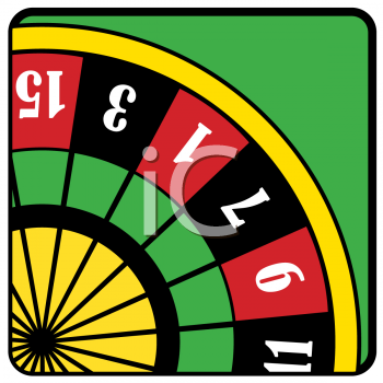 Roulette Table On A Green Background   Royalty Free Clipart