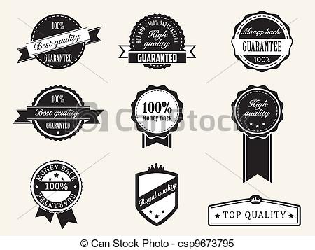 Vector   Premium Quality And Guarantee Badges With Retro Vintage Style