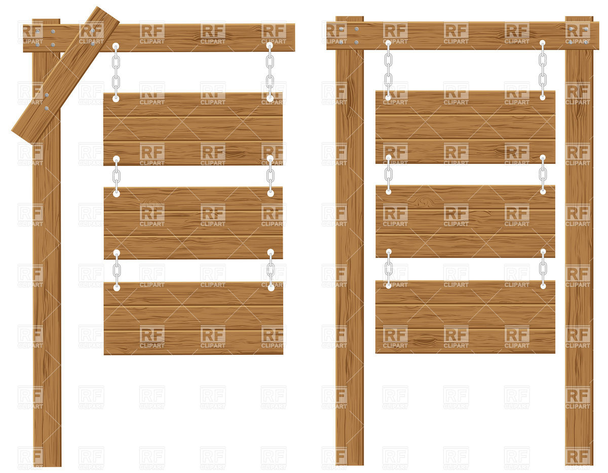 Wooden Boards Signs On Chains Vector