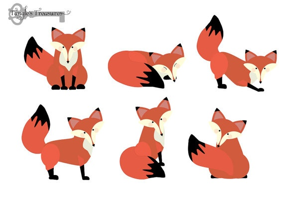Baby Fox Clip Art Foxes Digital Clipart By