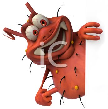 Cartoon Of A 3d Virus Bug Or Germ Smiling   Royalty Free Clipart Image
