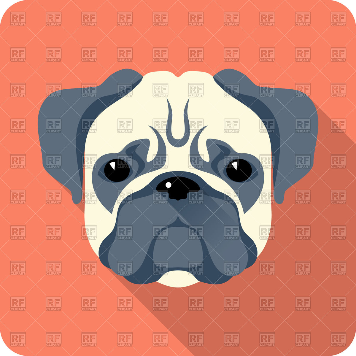 Dog Pug   Icon In Flat Style Download Royalty Free Vector Clipart