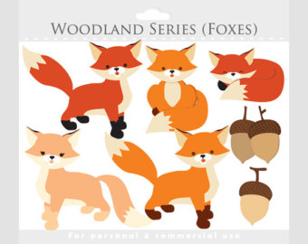 Fox Clipart   Whimsical Foxes Clip Art Cute Woodland Critter