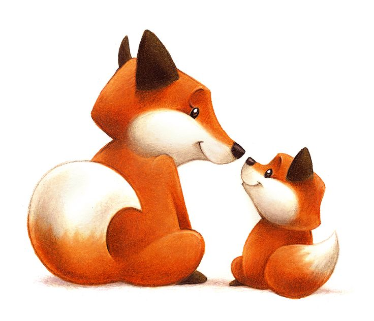 Mama Fox And Baby Fox By Aaron