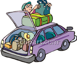 Man Packing A Car For A Trip   Royalty Free Clipart Picture