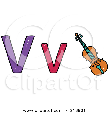 Of A Childs Sketch Of A Lowercase And Capital Letter V With A Violin
