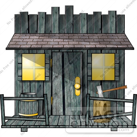 Old Fashioned Building Or Shed With A Log And Axe Clipart    18980 By