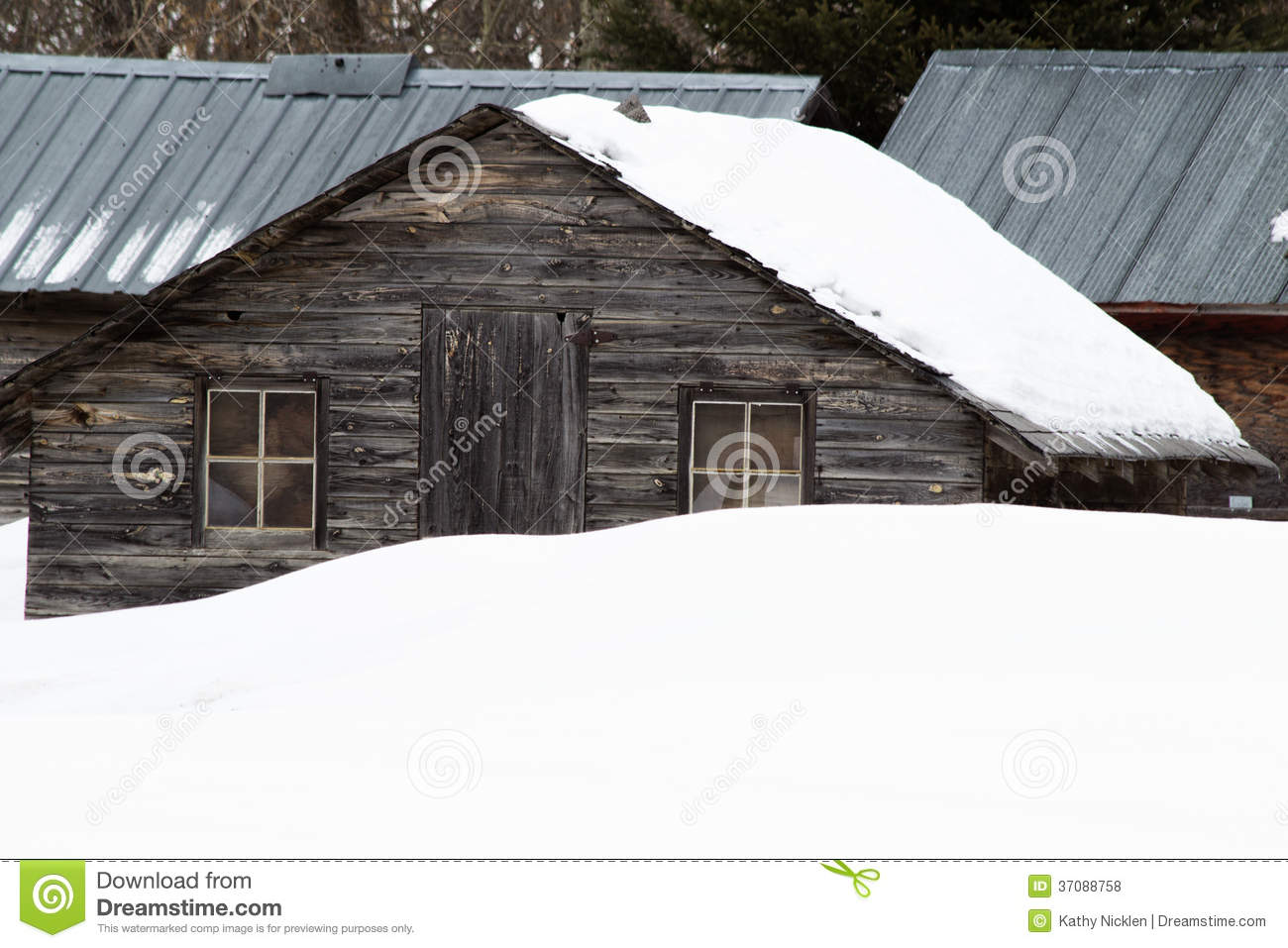 Old Shed Behind A Snow Bank Royalty Free Stock Photos   Image